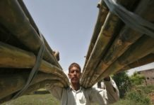 A farmer carries sugarcane from a field on the outskirts of Jammu